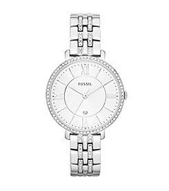 Fossil® Women's Jacqueline Silvertone Bracelet Watch with Glitz Bezel