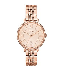 Fossil® Women's Jacqueline Rose Goldtone Bracelet Watch with Glitz Bezel