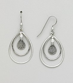 Silver Forest® Three Tears with Pearl Earrings