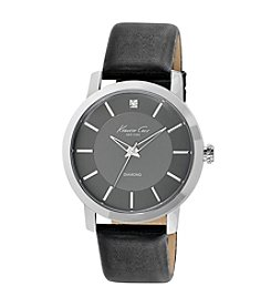 Kenneth Cole New York® Men's Silvertone Rock Out Watch with Black Leather Strap
