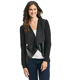 MICHAEL Michael Kors® Faux Leather Drape Front Cardigan