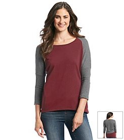 ruff hewn GREY Three Quarter Sleeve Color Block Scoop Tee