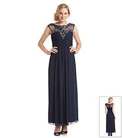 Xscape Beaded Illusion Neck Long Dress