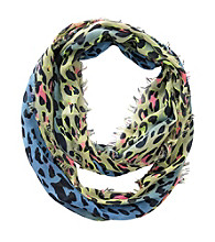 Miss Attitude Girls' Neon Yellow/Blue Ombre Leopard Infinity Scarf