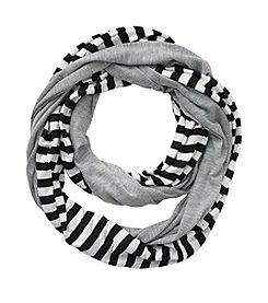 Miss Attitude Girls' Light Grey Striped Jersey Infinity Scarf