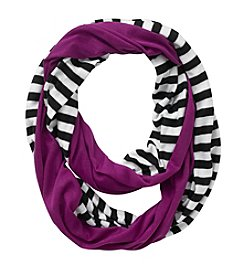 Miss Attitude Girls' Purple Striped Jersey Infinity Scarf