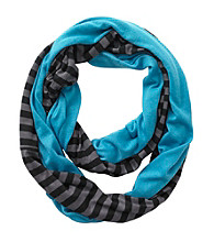 Miss Attitude Girls' Turquoise Striped Jersey Infinity Scarf