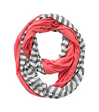 Miss Attitude Girls' Coral Striped Jersey Infinity Scarf