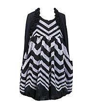 Bonnie Jean Girls' 7-16 Striped Bubble Dress With Shrug