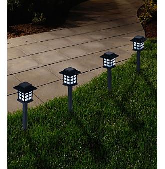 Pure Garden Set of Six Outdoor Lantern Solar Landscaping Lig