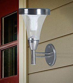 Pure Garden Set of Two Outdoor Wall or Post Mount Solar Lights