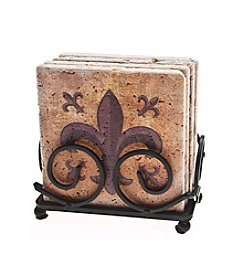 Thirstystone® Set of Four Fleur de Lis Travertine Drink Coasters with Holder