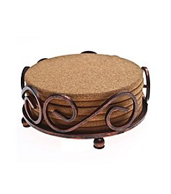Thirstystone® Set of Six Natural Cork Drink Coasters with Bronze Holder