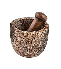 Thirstystone® Rain Forest Marble and Sheesham Wood Mortar and Pestle