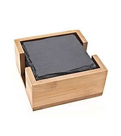 Thirstystone® Set of Six Slate Drink Coasters with Bamboo Holder
