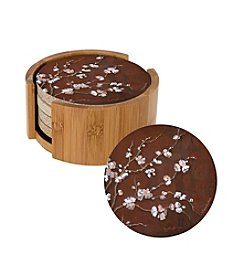 Thirstystone® Set of Four Cherry Blossom Drink Coasters with Bamboo Wood Holder
