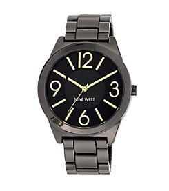 Nine West® Goldtone Accented Gunmetal Bracelet Watch