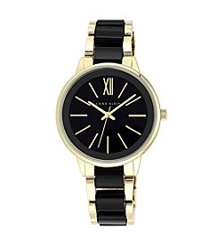 Anne Klein® Goldtone and Black Bracelet Watch
