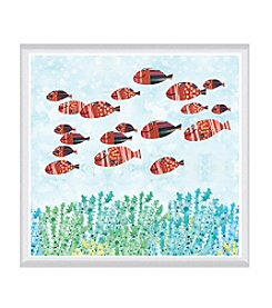 Greenleaf Art Redfish School Framed Canvas Art