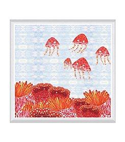 Greenleaf Art Orange Jelly Fish Framed Canvas Art