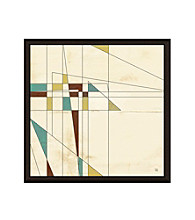 Greenleaf Art Retro Lines on Yellow I Framed Canvas Art