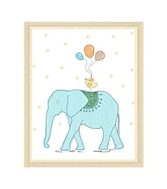 Greenleaf Art Blue Elephant and Bird Framed Canvas Art