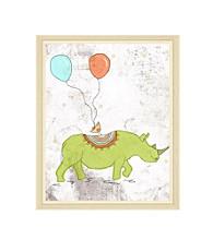 Greenleaf Art Green Rhino and Bird Framed Canvas Art