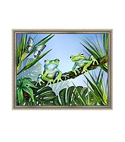 Greenleaf Art Two Blue Frogs Framed Canvas Art