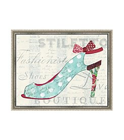 Greenleaf Art Blue Dotted Heel Framed Canvas Art