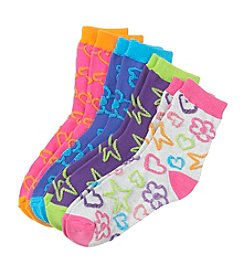 Miss Attitude Girls' 4-pack Raised Texture Crew Socks