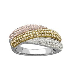 Sterling Silver Impressions® Tri-Color Crystal Ring