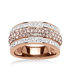 Sterling Silver Impressions® Two-Tone Crystal Ring