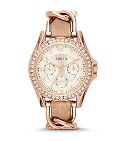 Fossil® Women's Riley Rose Goldtone Bracelet over Leather Strap Watch with Stones around Bezel
