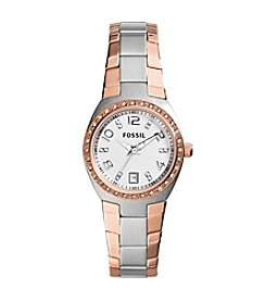 Fossil® Women's Serena Silvertone and Rose Goldtone Bracelet Watch with Clear Stones on Bezel