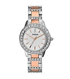 Fossil® Women's Jesse Silvertone and Rose Goldtone Bracelet Watch with Stones on Bezel and Strap