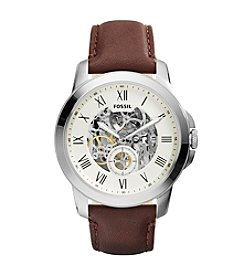 Fossil® Men's Grant Stainless Steel Automatic Watch with Silvertone Case and Brown Leather Strap