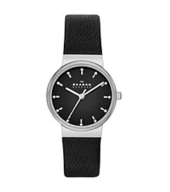 Skagen Denmark Women's Ancher Silvertone Watch with Genuine Black Leather Strap & Black Dial