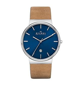 Skagen Men's Ancher Silvertone Watch with Genuine Brown