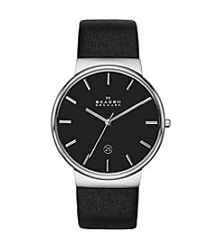 Skagen Denmark Men's Ancher Chronograph Silvertone Watch with Black Leather Strap & Black Dial