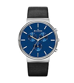 Skagen Denmark Men's Ancher Chronograph Silvertone Watch with Genuine Black Leather Strap & Blue Dial