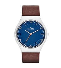 Skagen Denmark Men's Ancher Silvertone Watch with Genuine Brown Leather Strap & Blue Dial