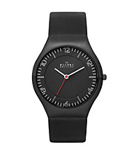 Skagen Denmark Men's Grenen Black IP Watch with Genuine Black Leather Strap & Black Dial