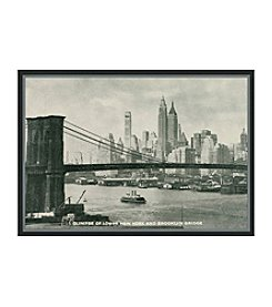 Greenleaf Art Brooklyn Bridge Postcard Framed Canvas Art