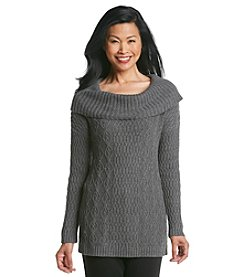 Laura Ashley® Cowlneck Cable Sweater