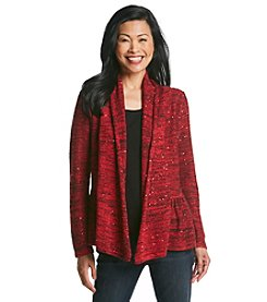 Laura Ashley® Sequin Peplum Cardigan Sweater