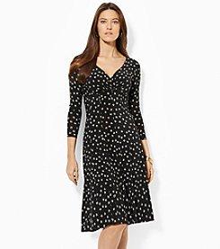 Lauren Ralph Lauren® 3/4 Sleeves Printed Jersey Surplice Dress
