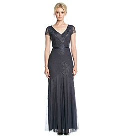 Adrianna Papell® Mesh Beaded Long Cocktail Dress