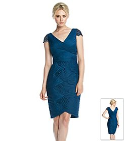 Adrianna Papell® Beaded Sleeve Ruched Cocktail Dress