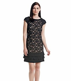 Jessica Simpson Lace Shift Dress with Ruffle Hem