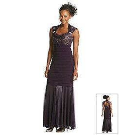 R&M Richards® Lace Sparkle Shutter Bodice Sheer Bottom Long Dress